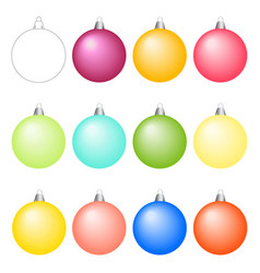 set of christmas balls different colors vector image