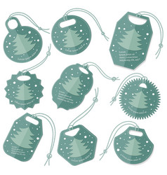 set of tags with flat christmas tree vector image