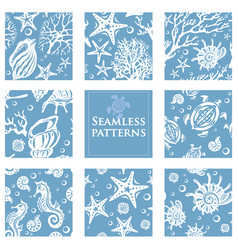 set seamless patterns with underwater sea life vector image
