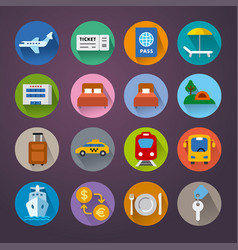 Set travel concept flat icons resort cruise vector