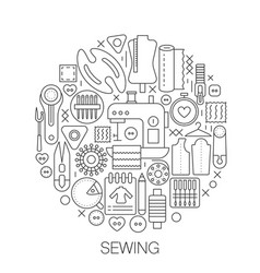 sewing in circle - concept line for vector image