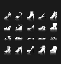 shoes white silhouette icons set vector image