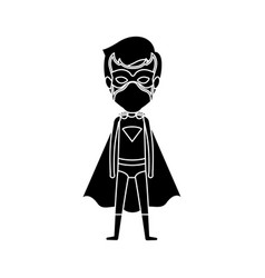 Silhouette black full body standing superhero guy vector