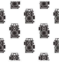 Silhouette old camera pattern vintage cameras in vector