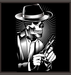 Skeleton gangster with revolvers in suit vector