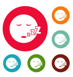 Sleep smile icons circle set vector