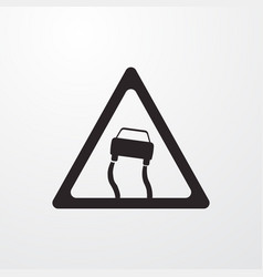 Slippery road attention sign icon road vector
