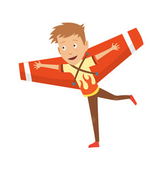 small boy in pilot costume dreaming piloting vector image