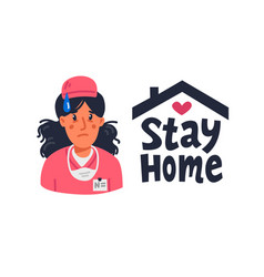stay home tired young nurse in pink scrubs and vector image