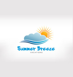 summer breeze wave logo design vector image