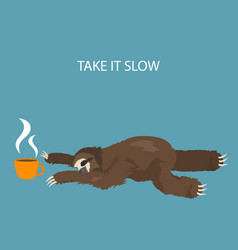 the story of one sloth morning cofee funny vector image