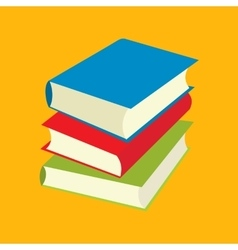 Three books flat icons vector