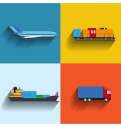 Transportation concept flat icons vector image