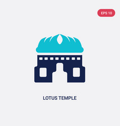 two color lotus temple icon from india concept vector image