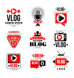 Vlog and blog original logo design set video vector