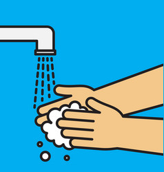 Wash hands arm in foam soap bubbles vector