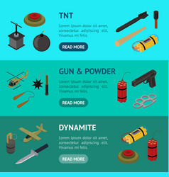 weapons 3d banner horizontal set isometric view vector image