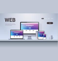 web technology network concept laptop smartphone vector image