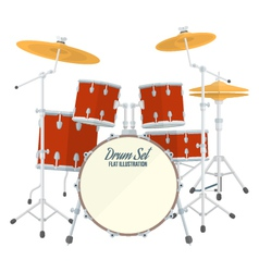 color flat style drum set vector image vector image