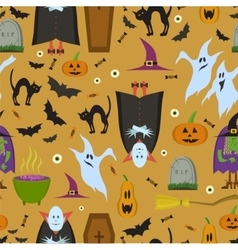 seamless pattern for Halloween in cartoon vector image