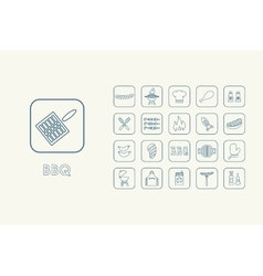 Set of BBQ simple icons vector image