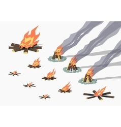 Set of campfires vector image