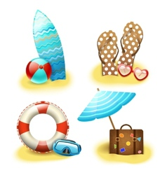 Summer holiday vacation accessories collection vector image