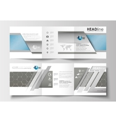 Business templates for tri-fold square brochures vector