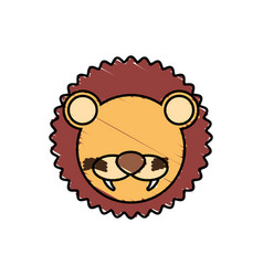 drawing lion face animal vector image