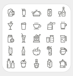 Drink and Beverage icons set vector image vector image