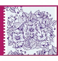 floral ink pattern vector image