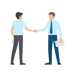 people shaking hands on white vector image