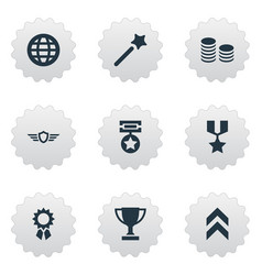 set of simple champ icons vector image