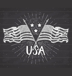 vintage label hand drawn crossed usa flags happy vector image vector image