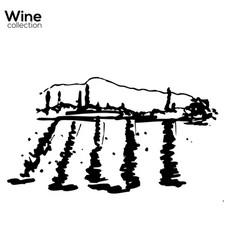 wine yard hand sketch lanscape vector image vector image
