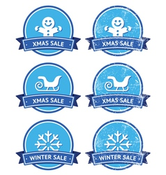 Christmas and winter sale retro labels vector image vector image
