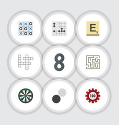 flat icon games set of poker gomoku mahjong and vector image vector image