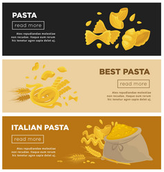 italian pasta web banners template for vector image