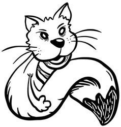simple black and white cat vector image