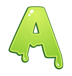 slimy font type letter a vector image