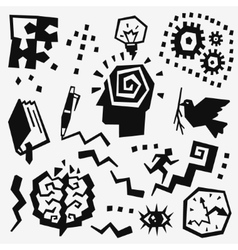 Thinking doodles set vector image