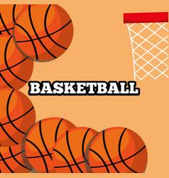 basketball balls and hoop sport background design vector image