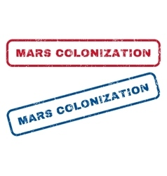 Mars colonization rubber stamps vector