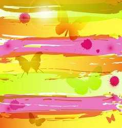 Watercolor background with butterflies blots and vector image
