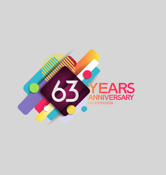 63 years anniversary colorful design with circle vector