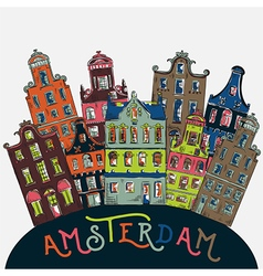 amsterdam traditional architecture netherlands vector image