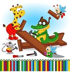Animals build wooden plane vector