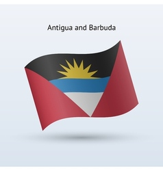 Antigua and Barbuda flag waving form vector image