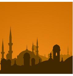 Arabic cityscape with mosque silhouette vector