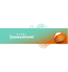 Attractive happy krishna janmastami festival vector
